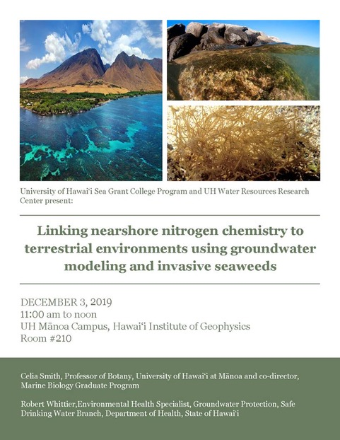 Poster for Linking nearshore nitrogen chemistry to terrestrial environments using groundwater modeling and invasive seaweeds. Decmeber 3, 2019, 11-noon in HIG 210