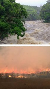 River flooding and uncontrolled shrub fire