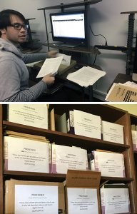 boy processing document and boxes of reports